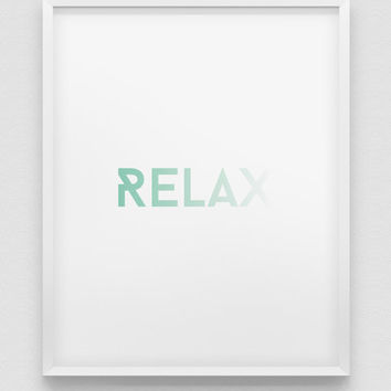 RELAX print // mint green print // modern home decor // office wall art  // minimalistic poster // relax poster