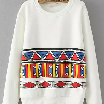 White Geometric Print Sweatshirt