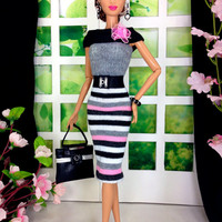 Barbie Doll Clothes Handmade - Striped Dress with Purse, Earrings, Bracelet, and Customized Shoes
