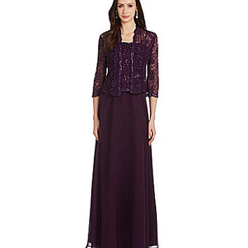 Emma Street 2-Piece Beaded-Lace Jacket Dress - Eggplant