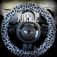 Steering Wheel Cover Black and Gray Leopard Cheetah Snow Leopard Animal Print Corduroy