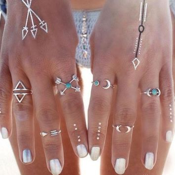 LMF9GW R215  New! 6PCS Vintage Turkish Beach Punk Moon Arrow Ring Set Ethnic Carved Silver Plated Boho Midi Finger Ring Knuckle Charm