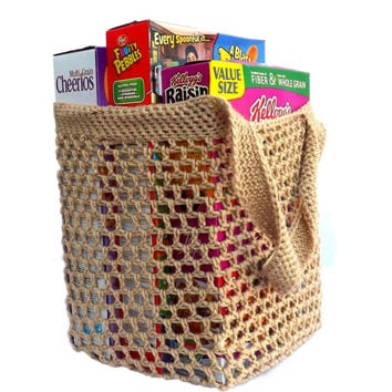 Eco Friendly Grocery Bag - Tan Farmer's Market Bag - market tote - beach tote - reusable grocery bag - day care bag - soccer bag - dance bag