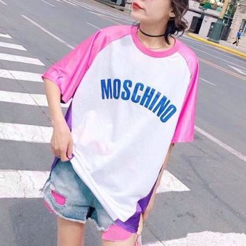 """Moschino"" Fashion Loose Casual Cartoon Letter Print Multicolor Short Sleeve Middle Long Section T-shirt Mini Dress"