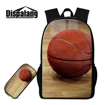Cool Backpack school Dispalang Mens School Bags and Pen Bag for Boys Teenagers Ball Printing Cool Zipper Kids School Backpack High Quality Pencil Bag AT_52_3