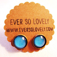 peacock teal blue moon earrings by EverSoLovely