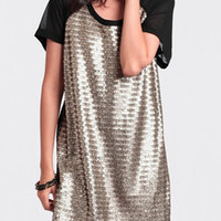 Gold Contrast Black Glittering Short Sleeve Sparkles Colorblock Sequined Dress