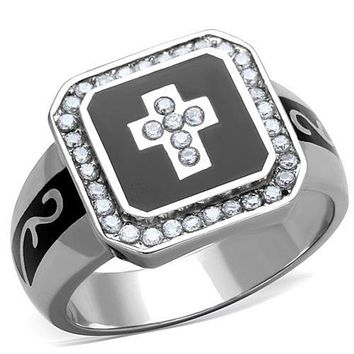 WildKlass Stainless Steel Ring Cross High Polished (no Plating) Women AAA Grade CZ Clear
