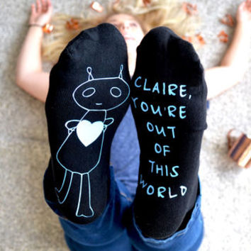 personalised out of this world alien socks by alphabet interiors | notonthehighstreet.com