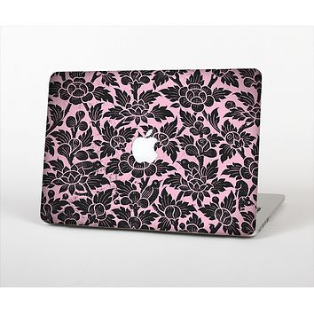 The Black & Pink Floral Design Pattern V2 Skin Set for the Apple MacBook Air 13""