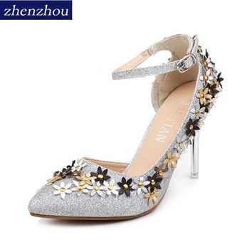 Newspring summer 2017 the new point of fine with high heels diamond wedding shoe female bride shoes slipper single side is empty