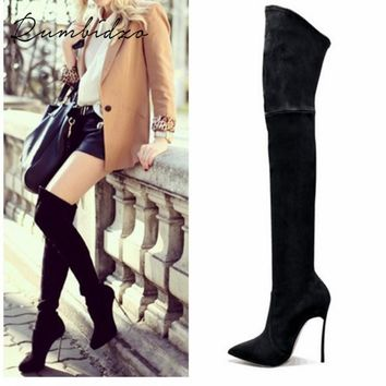 Rumbidzo 2017 Autumn Winter Women Boots Stretch Slim Thigh High Boots Fashion Over the Knee Boots High Heels Shoes Woman Sapatos