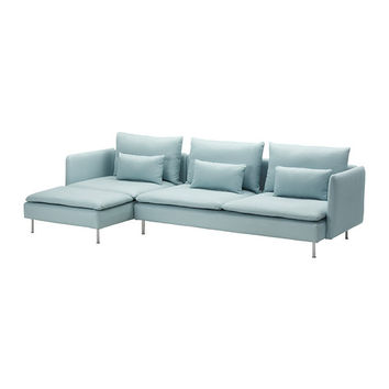 SÖDERHAMN Sofa and chaise lounge - Isefall light turquoise  - IKEA