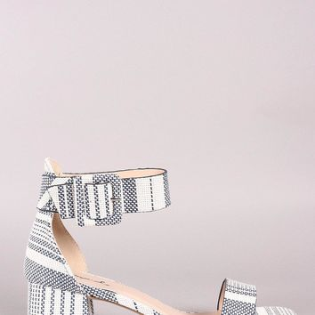Qupid Striped Weaved Ankle Strap Low Block Heel