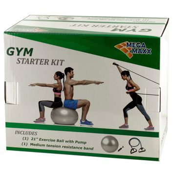 Gym Starter Kit with Exercise Ball, Pump & Resistance Band Case Pack 3