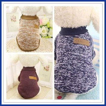 Cute Lovely Charming 3 Color Pet Dog Puppy Classic Sweater Fleece Sweater Clothes Warm Sweater Winter Dog Clothes S-XL