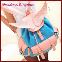 Online Shop 2014 New arrival Korean fashion Angel wings embroidered Dual-pocket Pu leather backpacks/student bags women backpack A7138|Aliexpress Mobile