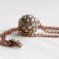Light Brown and Antique Copper Crystal Ball Necklace - Simple Handmade Beaded Jewelry - Ready to Ship