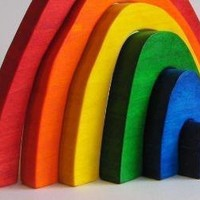 Large Wooden Rainbow Stacker Toy Imagination by Imaginationkids