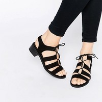 New Look Tie Up Flat Sandal at asos.com