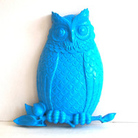 Owl Vintage Painted Bright Modern Turquoise by IntenseInteriors
