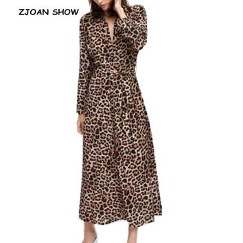 Vintage Lapel Leopard print Dress 2018 Woman Bow tied Sashes Front Slit Ankle-length Shirt Dresses New Femme Casual Vestido