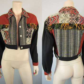Vintage Tribal Ikat Fringe Jacket Ethnic Gypsy Cropped Boho Artsy Hippie Patchwork Tapestry Contempo Casuals size S