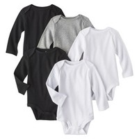 Circo® Newborn 5 Pack Long-sleeve Bodysuit - White/Grey/Black
