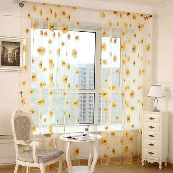 2017 Sunflower Curtains Tulle Window Curtain for Living Room Bedroom Kitchen Curtains Printed Sheer Voile Curtains Free Ship