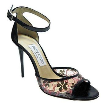 Jimmy Choo Black Floral Sandals 37