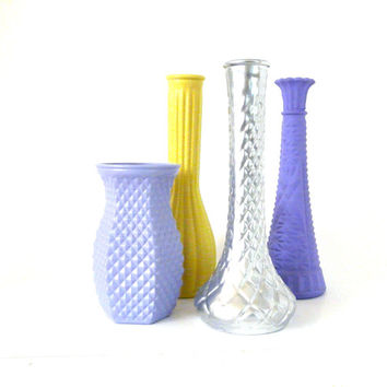 upcycled vase set, vases, wedding decor, lilac, purple, pretty, pastels, home decor