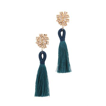 Yellow Gold Crystal Floral & Peacock Teal Blue Drop Fringe Earrings