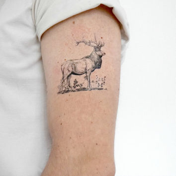 Temporary Tattoo Elk - Hunter, Woodland, Black, Antlers, For him, Accessories
