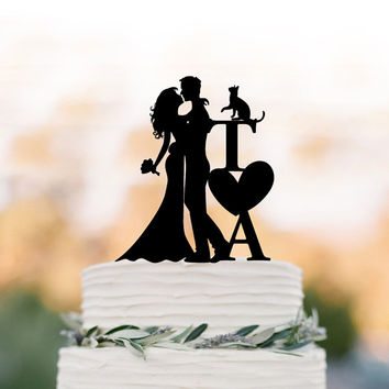 initial Wedding Cake topper with cat bride and groom silhouette, personalized wedding cake topper letters,  unique cake topper with heart