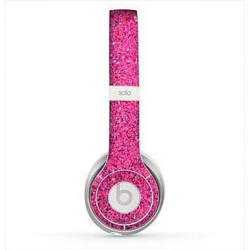 The Pink Sparkly Glitter Ultra Metallic Skin for the Beats by Dre Solo 2 Headphones