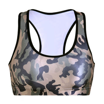 With Steel Wire Bra Underwear Camouflage Print Yoga Sports Bra [6533731079]