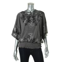 Lauren Michelle Womens Metallic Embroidered Pullover Top