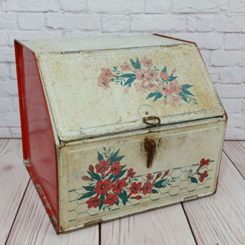 Vintage Rustic Bread Box Pie Safe Flowers