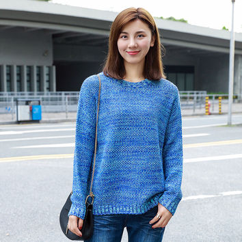 Korean Women's Fashion Winter Pullover Round-neck Sweater [9108834759]