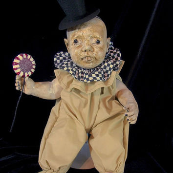 BIG Creepy Christmas Prop Altered Art Doll Holiday Horrible Circus Freak Goth Monster OOAK Scary Odd Weird Ghoul Lorcheenas By L. Cerrito