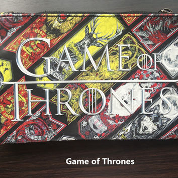 Hot Movie Game of Thrones Pen Pencil Bag Leather Purse Zipper Wallet carteira masculina Men Wallets