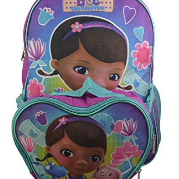 "Disney Doc Mcstuffins Girl's Large 16"" Backpack with Detachable Lunchbox"