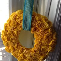 Crepe Paper Flower Wreath Rosette Wreath Custom Floral Wedding Decor Home Decor Made to Order Ribbon Hanger Wreath
