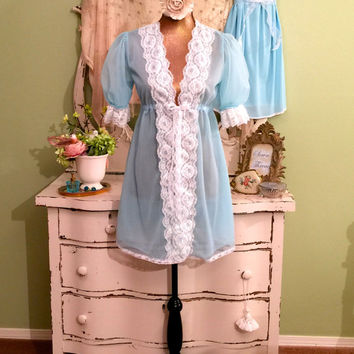Chiffon Cupcake Nightie Set, Princess Baby Doll, Chic Shabby Lingerie, Vintage Nightgown Set, Pin Up Lingerie, Wedding Bridal Peignoir,  S/M