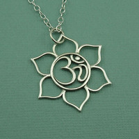 Om Lotus Flower Necklace - sterling silver om symbol - yoga necklace jewelry - ohm