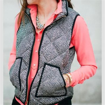 vintage outerwear real photo designer inspired cotton textured herringbone quilted puffer vest gold zipper for women free gift necklace  number 1
