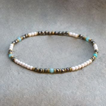 Howlite, Pyrite, and Amazonite Anklet