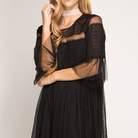 Mesh Baby Doll Dress - Black