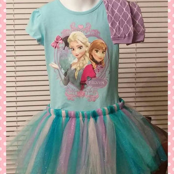 Frozen Birthday Dress- Elsa and Anna - Frozen Birthday, Sewn Tutu Dress, Leg Warmers, Christmas Gift, 4T ready to ship - Birthday Outfit