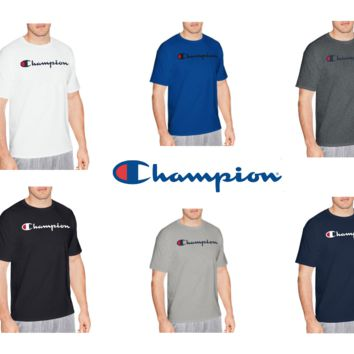 New Authentic Champion Men Jersey Script Logo Short Sleeves T-Shirt GT280 Y06794